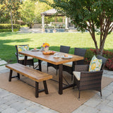 Jenine Outdoor 6 Piece Teak Finished Acacia Wood Dining Set with Multi-brown Dining Chairs