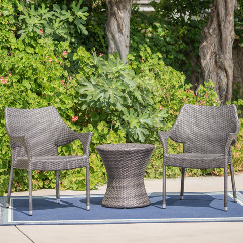 Álfheimr Outdoor 3 Piece Grey Wicker Stacking Chair Chat Set