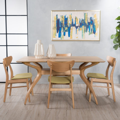 Amundsen Natural Oak Finish Curved Leg Rectangular 5 Piece Dining Set
