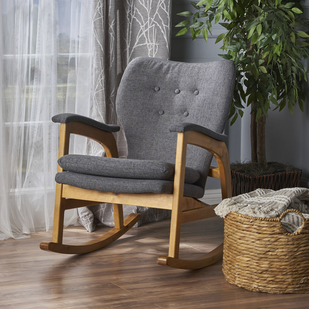 Excellent Bethany Mid Century Fabric Rocking Chair Ibusinesslaw Wood Chair Design Ideas Ibusinesslaworg