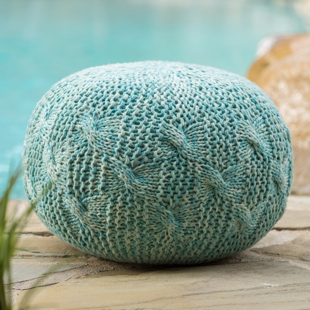 Ash Outdoor Handcrafted Modern Fabric Weave Pouf
