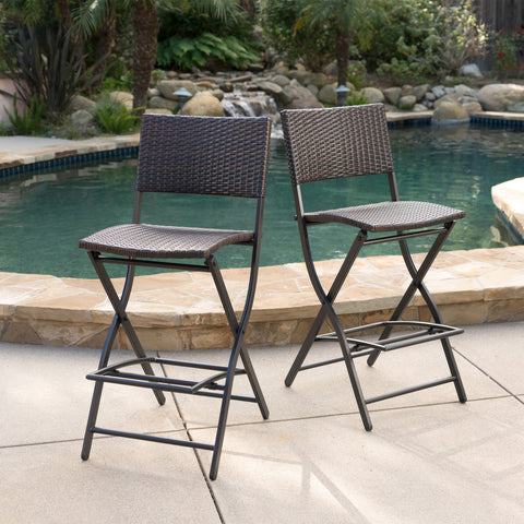 Marinelli Outdoor Multibrown Wicker Barstools (Set of 2)