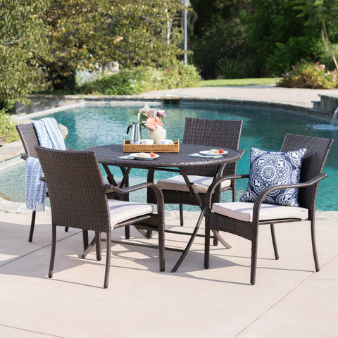 Toluca Outdoor 5 Piece Foldable Table and Stacking Chair Wicker Dining Set