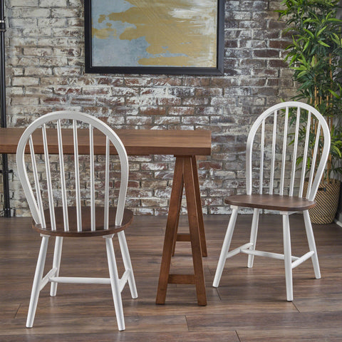 Crosby Farmhouse Cottage High Back Spindled Rubberwood Dining Chairs (Set of 2)