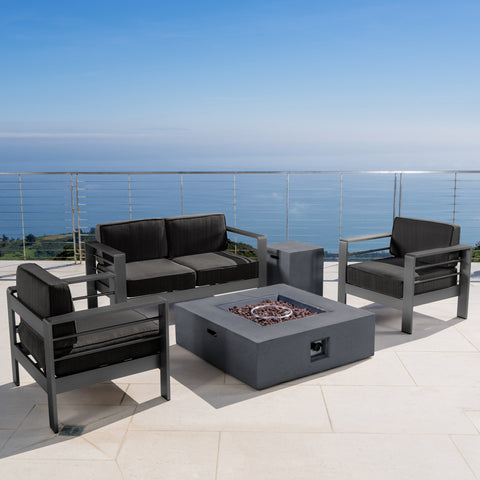 Coral Bay Outdoor Grey Aluminum 5 Piece Loveseat Chat Set with Fire Table