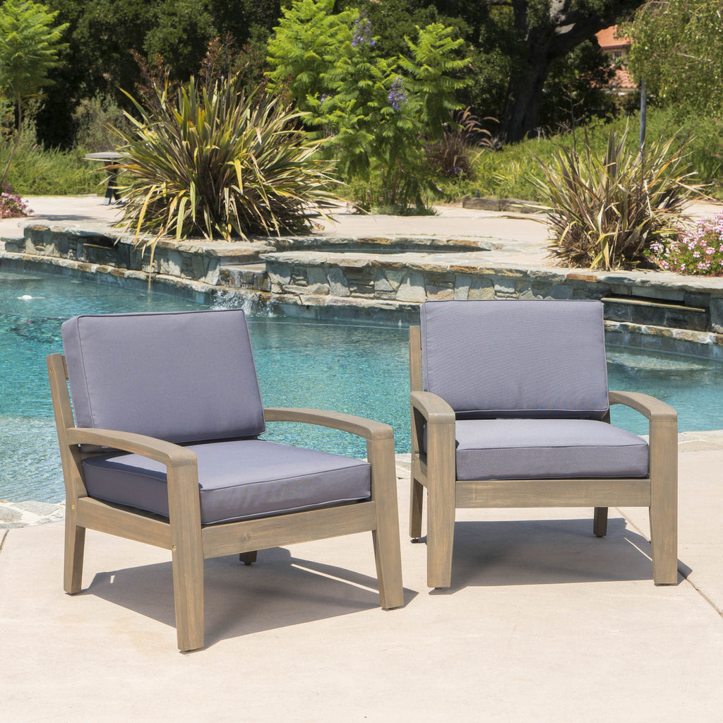 Giselle Outdoor Acacia Wood Club Chairs W/ Water Resistant Cushions U2013 GDF  Studio
