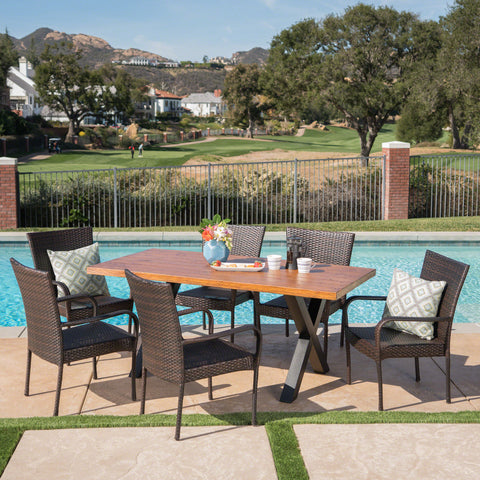Amaryllis Outdoor 7 Piece Wicker Dining Set with Light Weight Concrete Table