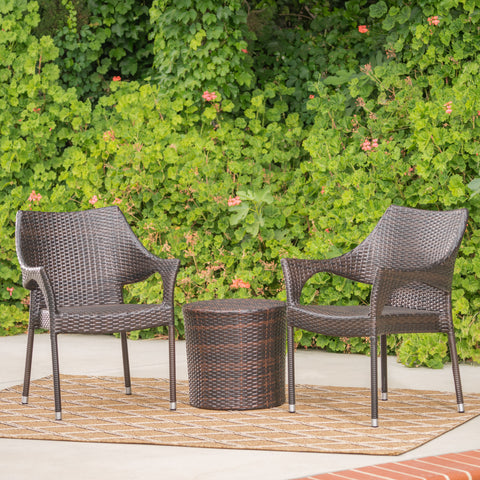 Álfheimr Outdoor 3 Piece Multi-brown Wicker Stacking Chair Chat Set