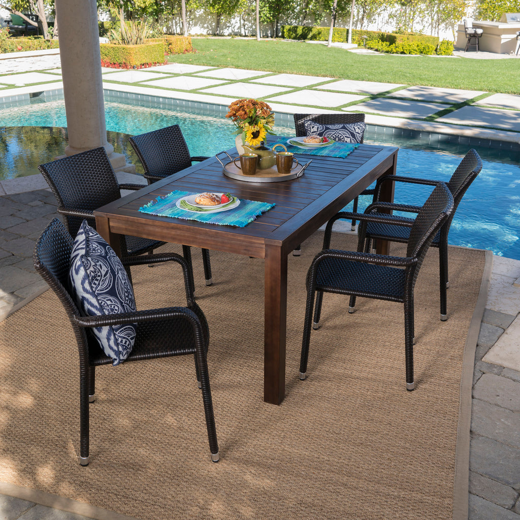 Netton Outdoor 7 Piece Dining Set With Dark Brown Finished Wood Table And  Chairs