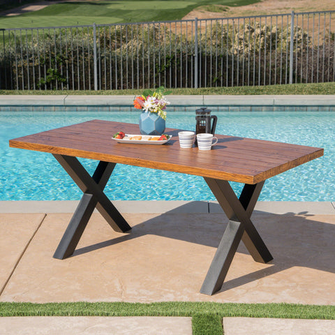 Cytheria Outdoor Brown Walnut Finish Lightweight Concrete Dining Table