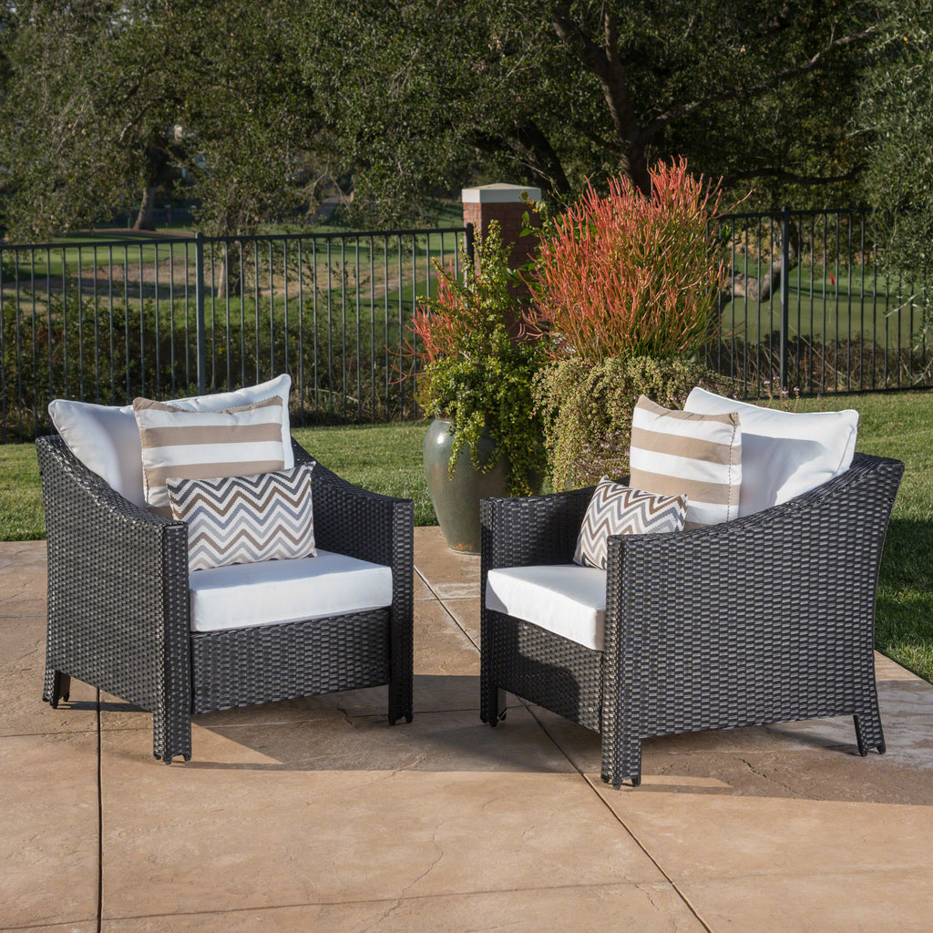 dione outdoor black wicker club chairs with white water resistant