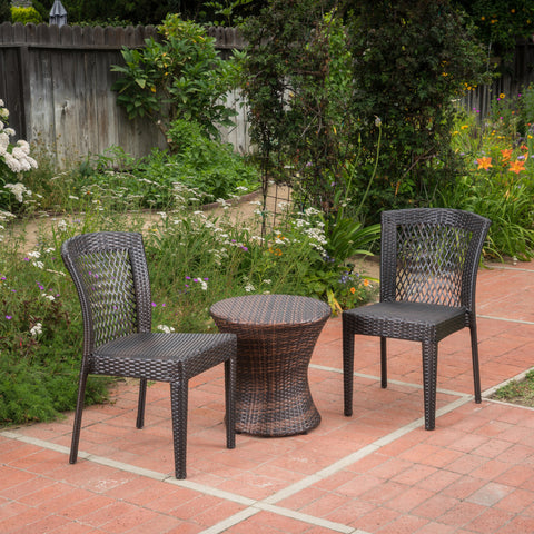 Capella Outdoor 3 Piece Multi-brown Wicker Stacking Chair Chat Set