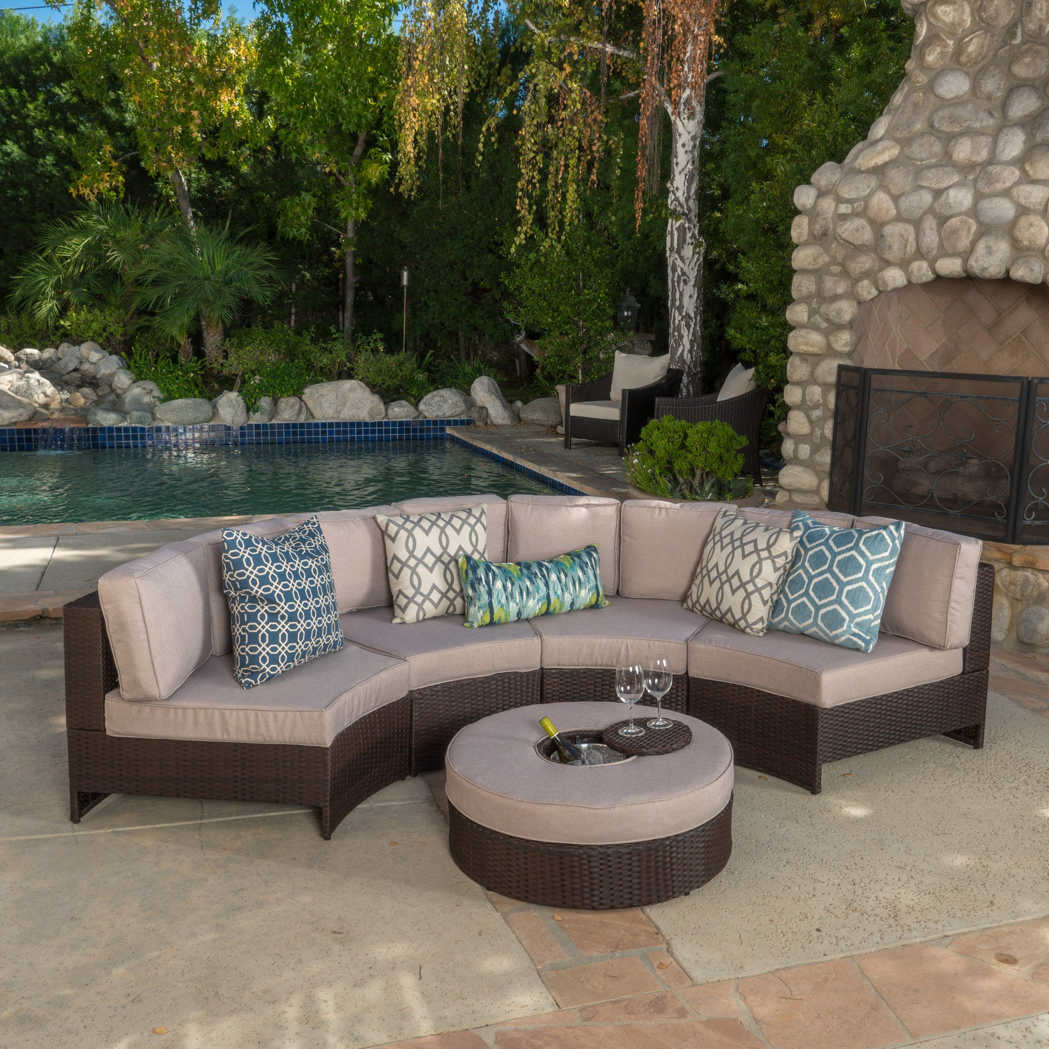Outdoor Sectional Sofa Set Ice Bucket Ottoman foto