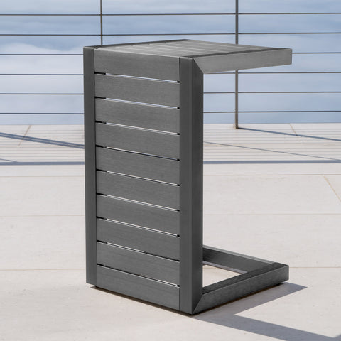 Crested Bay Outdoor Gray Aluminum C-Shaped Side Table