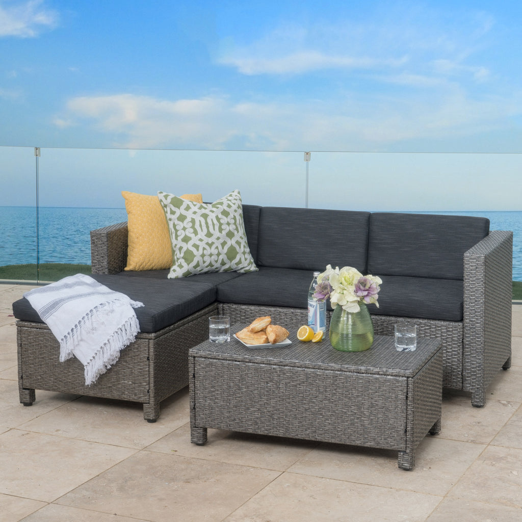 Superb Lorita Outdoor 5 Piece Grey Wicker Sectional Sofa Set With Black Cushions
