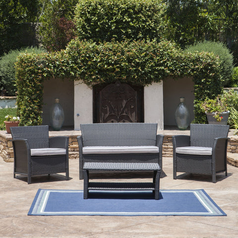 Lorien Outdoor 4 Piece Wicker Chat Set w/ Water Resistant Cushions