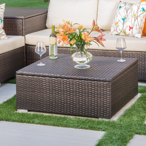 San-Louis-Obispo Outdoor Wicker Storage Coffee Table