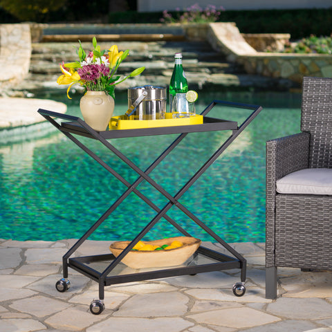 Annika Outdoor Black Powder Coated Iron Bar Cart With Tempered Glass Shelves