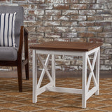 Cassandra Outdoor Farmhouse Dark Oak Acacia Wood White Frame End Table