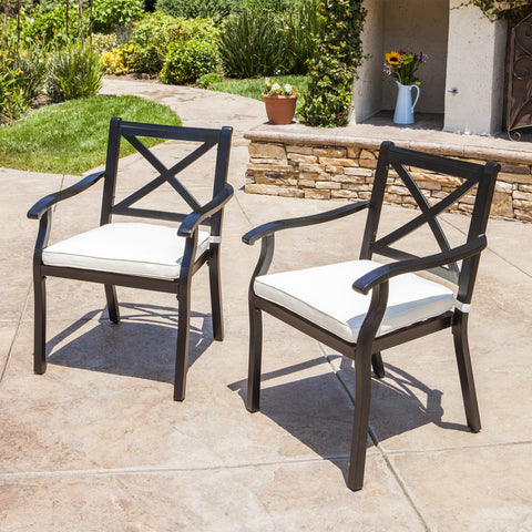 Eowyn Outdoor Cast Aluminum Dining Chairs w/ Water Resistant Cushions (Set of 2)
