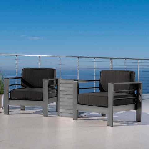 Crested Bay Outdoor Gray Aluminum 3 Piece Chat Set with Water Resistant Cushions