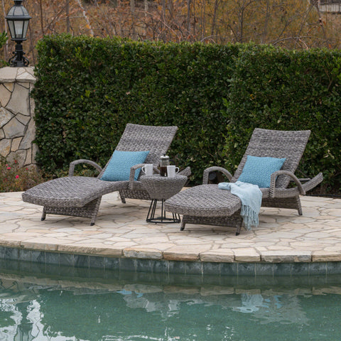 Keira Outdoor 3 Piece Gray Wicker Armed Chaise Lounges with Side Table