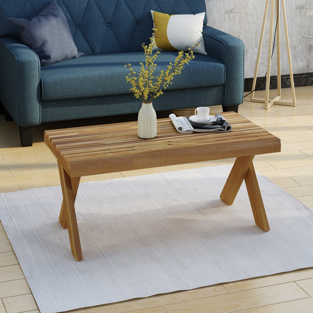 Estelle Indoor Farmhouse Acacia Wood Coffee Table