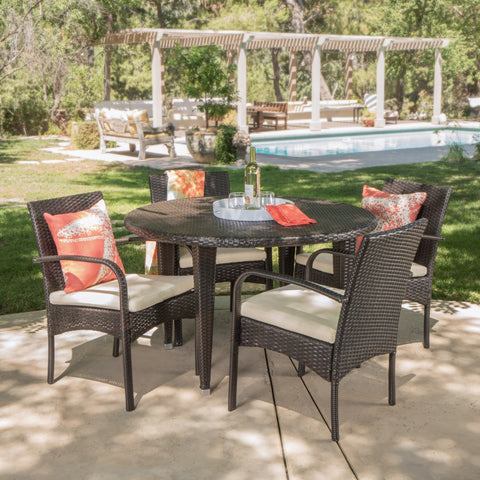 Portia Outdoor 5 Pc Wicker Round Dining Set w/ Water Resistant Cushions