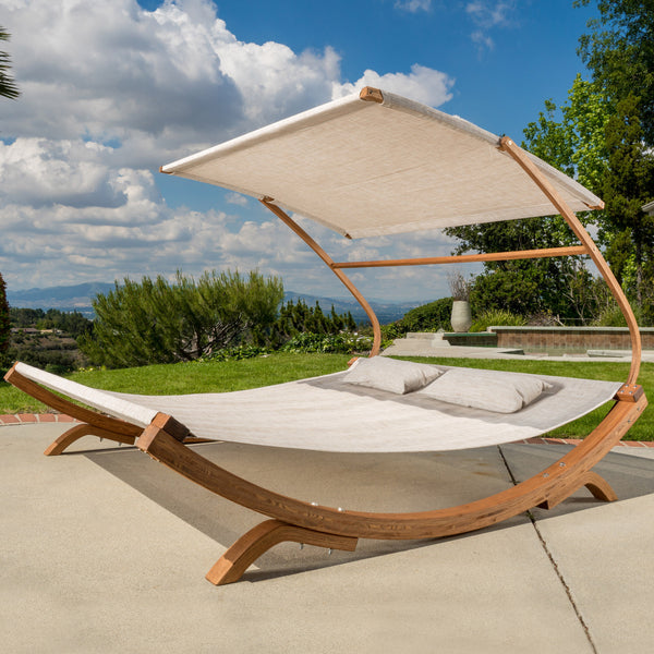 Bayard Outdoor Off-White Sunbed with Adjustable Canopy