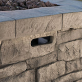 Angeleno Outdoor Square Gray Lightweight Concrete Fire Pit with Stone Finish