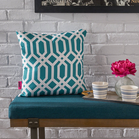 Raylan Indoor Dark Teal Arabesque Patterned Water Resistant Square Throw Pillow