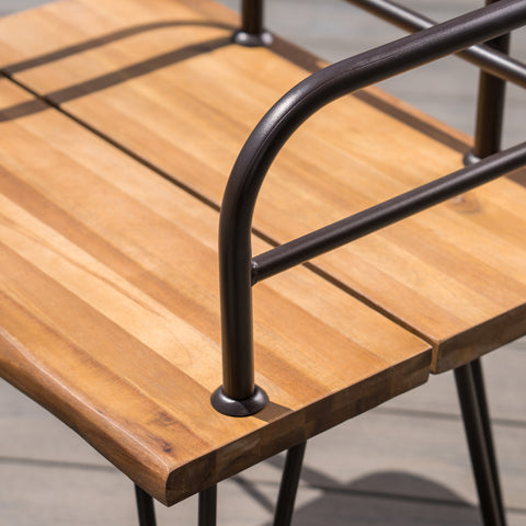 Avy Outdoor Rustic Industrial Acacia Wood End Table Chat with Metal Hairpin Legs, Teak