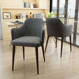 Nande Mid Century Fabric Dining Chairs with Wood Finished Legs - Set of 2