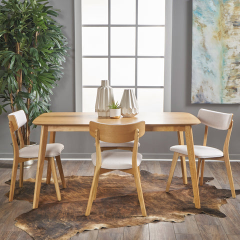 Antonio Mid Century Natural Oak Finished 5 PC Dining Set
