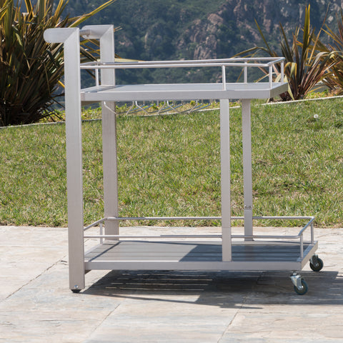 Coral Bay Outdoor Bar Cart with Wood Top