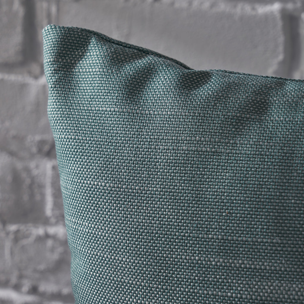 Misty Indoor Teal Water Resistant Small Square Throw Pillow