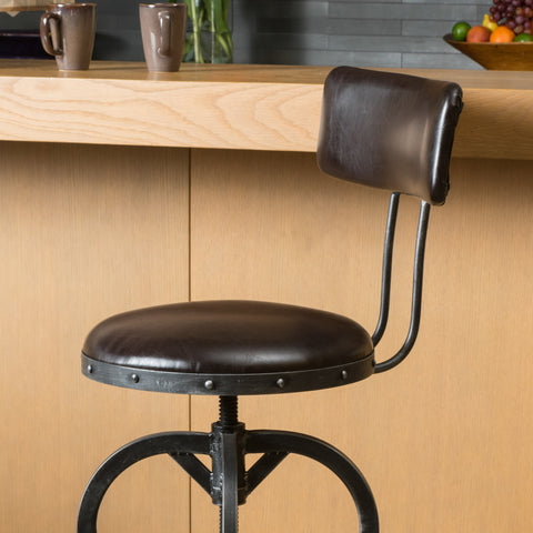 Samthorn Metal Industrial Adjustable Barstool With Backrest