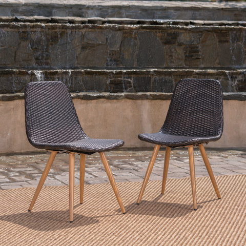 Gilda Outdoor Multi-Brown Wicker Dining Chairs With Wood Finished Metal Legs