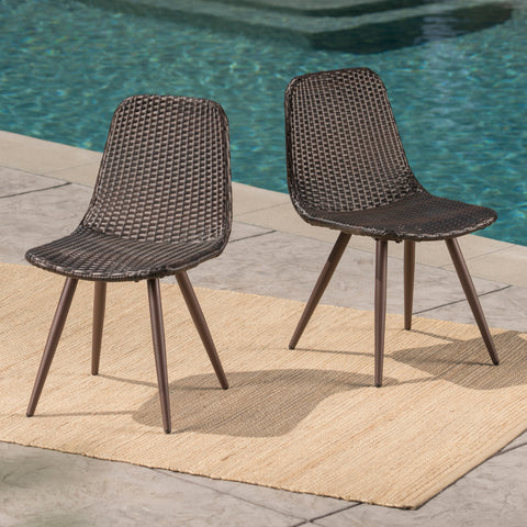 Gilda Outdoor Multibrown Wicker Dining Chairs with Dark Brown Powder Coated Legs