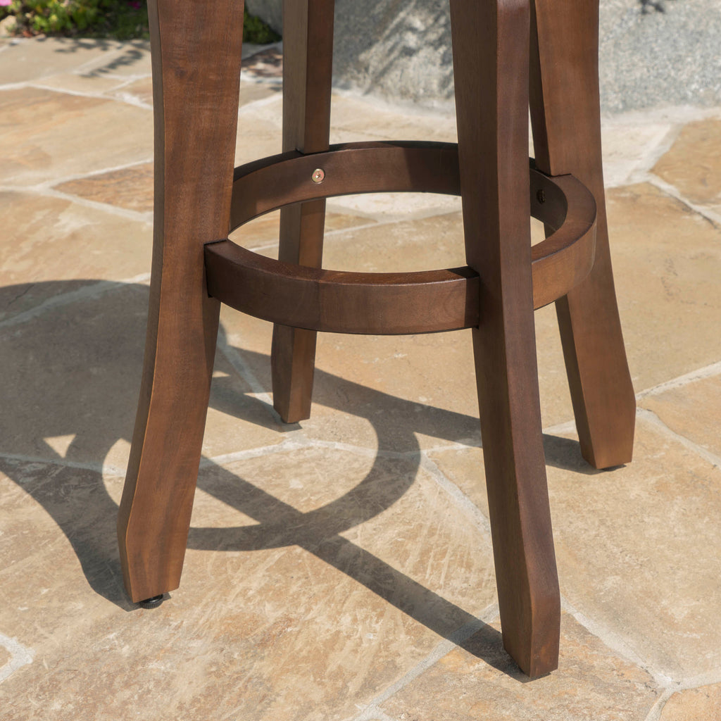 Pierre Outdoor 5 Piece Dark Brown Finished Acacia Wood Bar Set