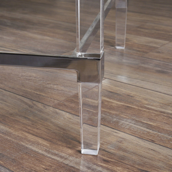 Bayor Modern Tempered Glass Coffee Table With Acrylic And