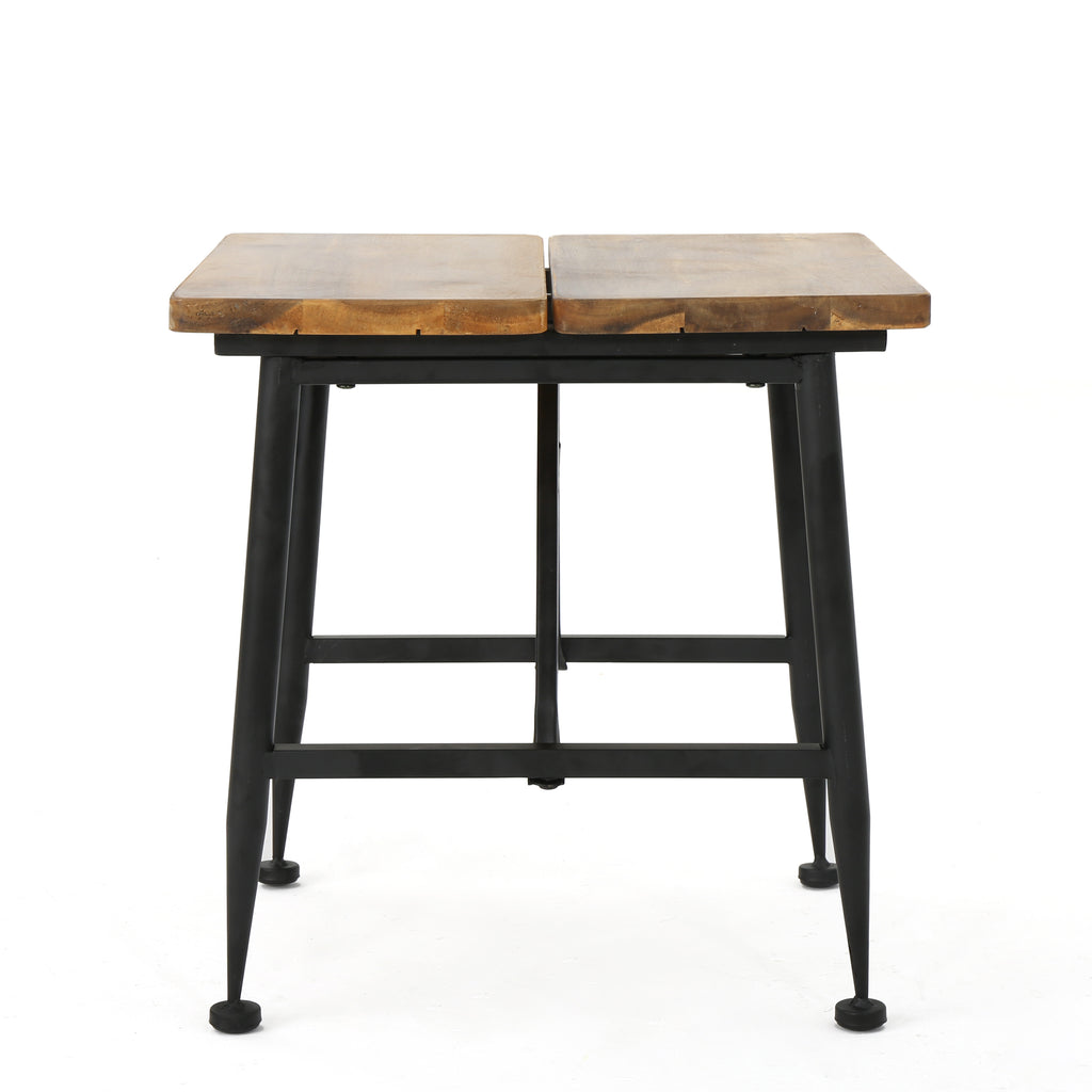 Ellaria Outdoor Rustic Industrial Acacia Wood End Table with Metal Frame, Teak and Black