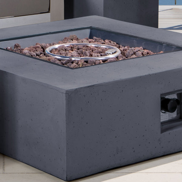 Coral Bay Outdoor Aluminum Khaki Chat Set W Fire Table