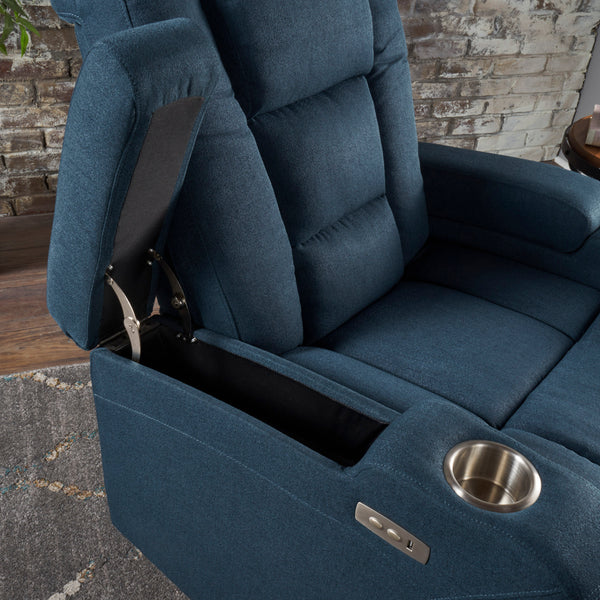 Astonishing Everette Tufted Navy Blue Fabric Power Recliner With Arm Storage And Usb Cord Pdpeps Interior Chair Design Pdpepsorg