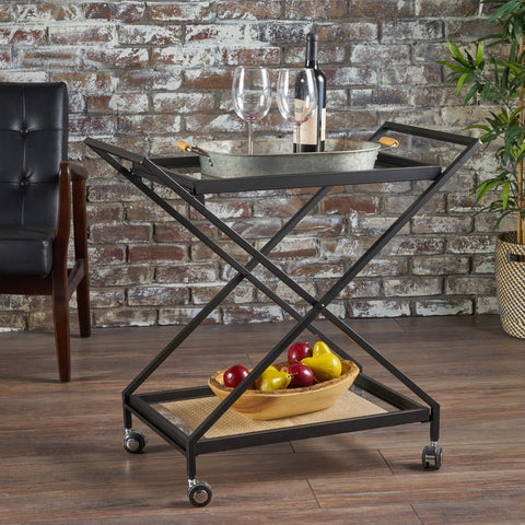 Sheri Industrial Tempered Glass Black Iron Bar Cart with Tempered Glass Shelves