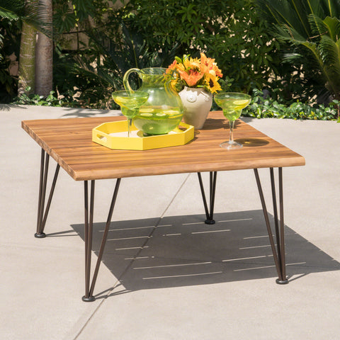 Avy Outdoor Rustic Industrial Acacia Wood Coffee Table with Metal Hairpin Legs, Teak
