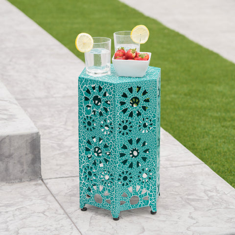 Elliot Outdoor 12 Inch Crackle Sunburst Iron Side Table