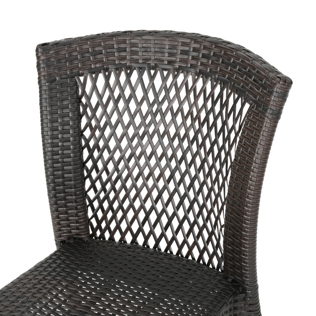 Eileen Outdoor 3-Piece Multi-Brown Wicker Chat Set with Stacking Chairs