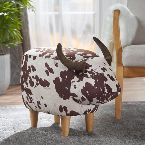 Bertha Milk Cow Patterned New Velvet Ottoman