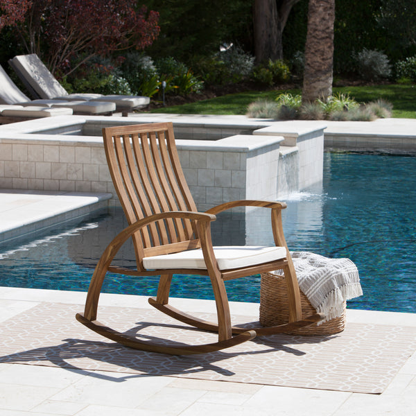 Caleb Outdoor Acacia Wood Rocking Chair With Water